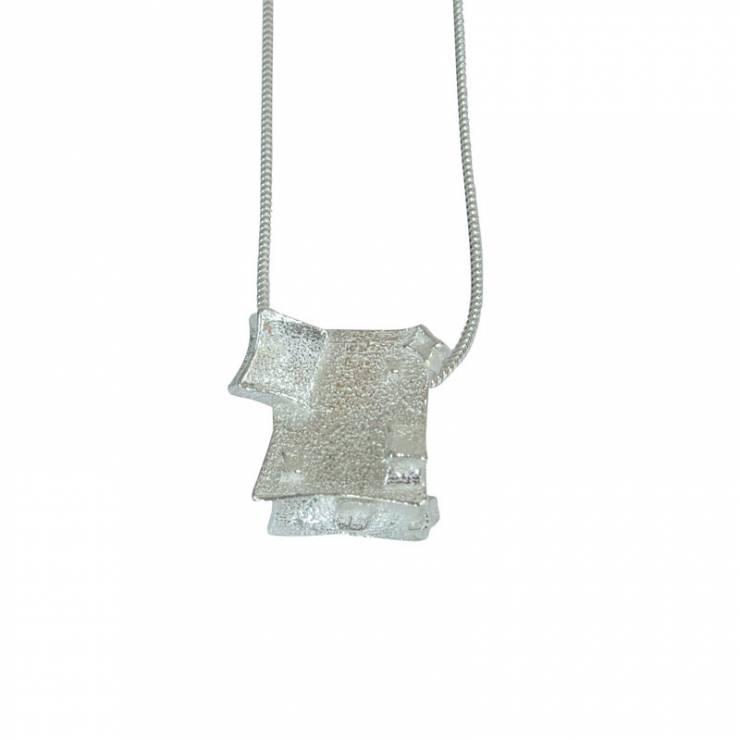 silver cube pendant