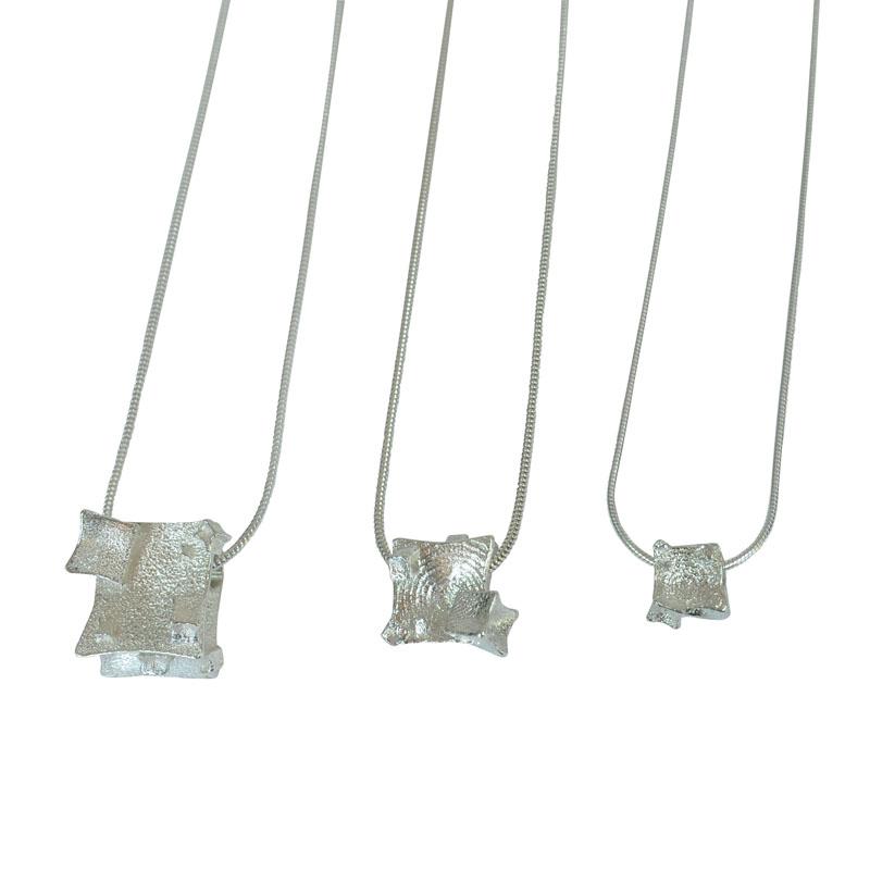 silver cube pendants
