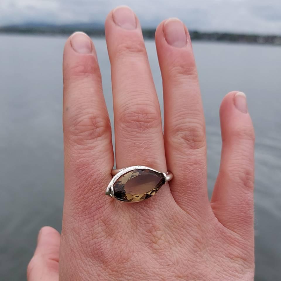 smokey quartz marquise cut silver adjustable ring