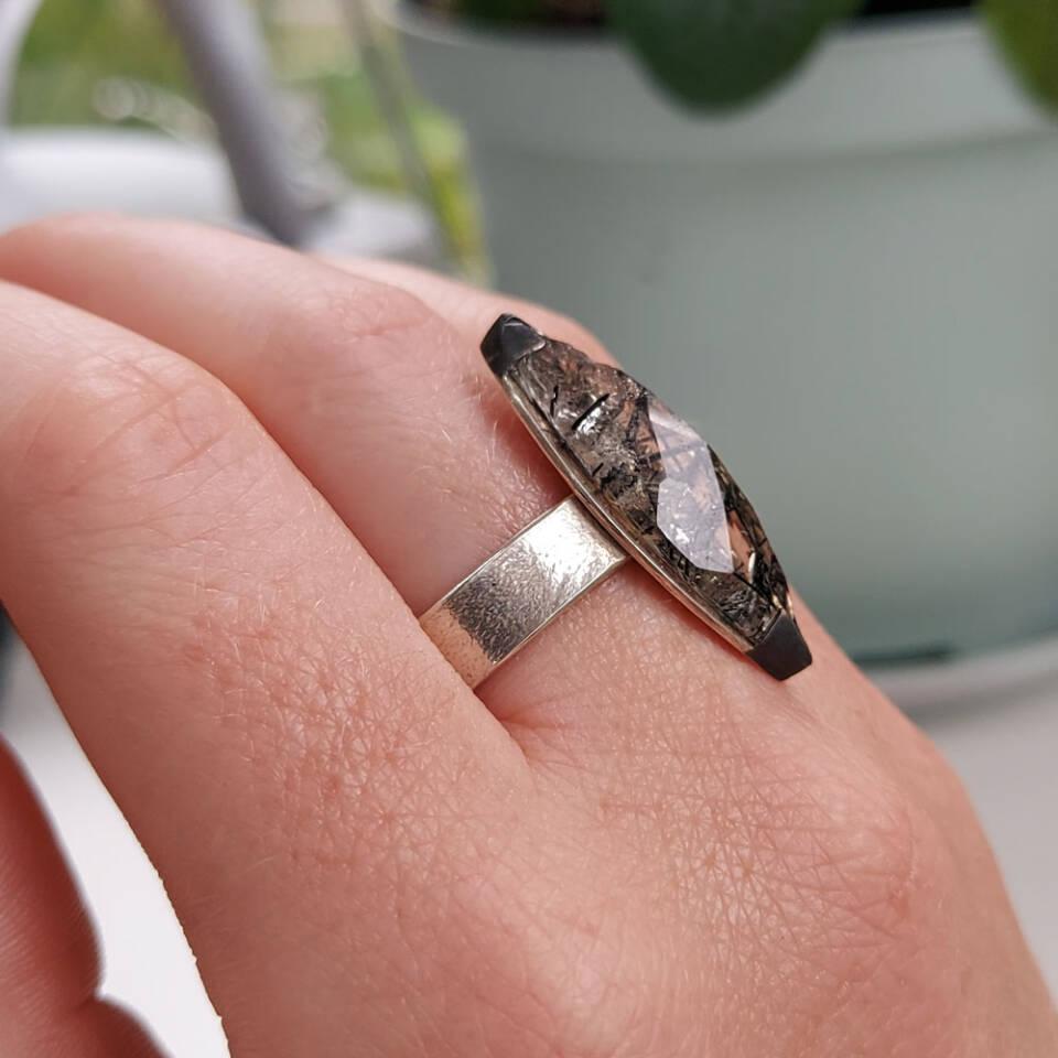 tourmalinated quartz marquise ring