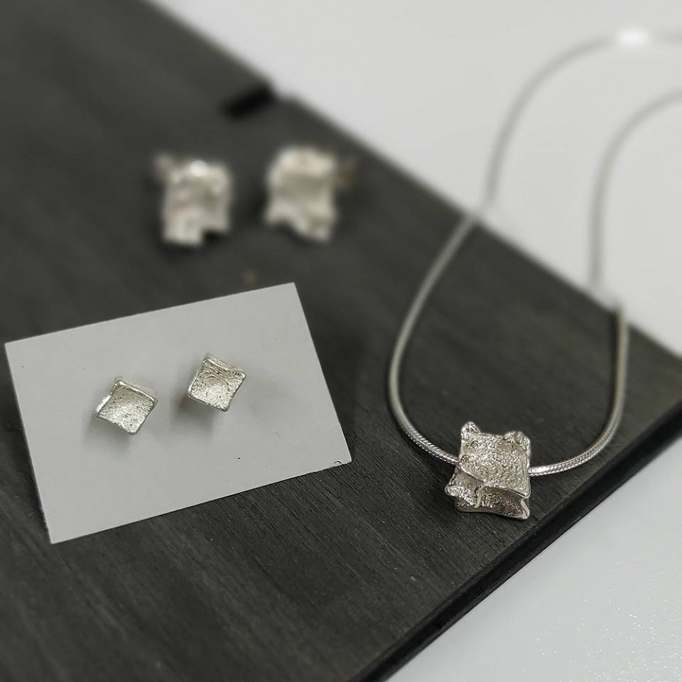 tiny cube studs small cube pendant and earrings