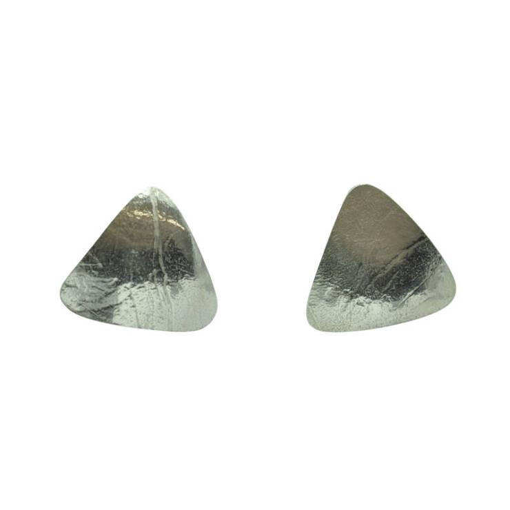 domed triangle stud earrings
