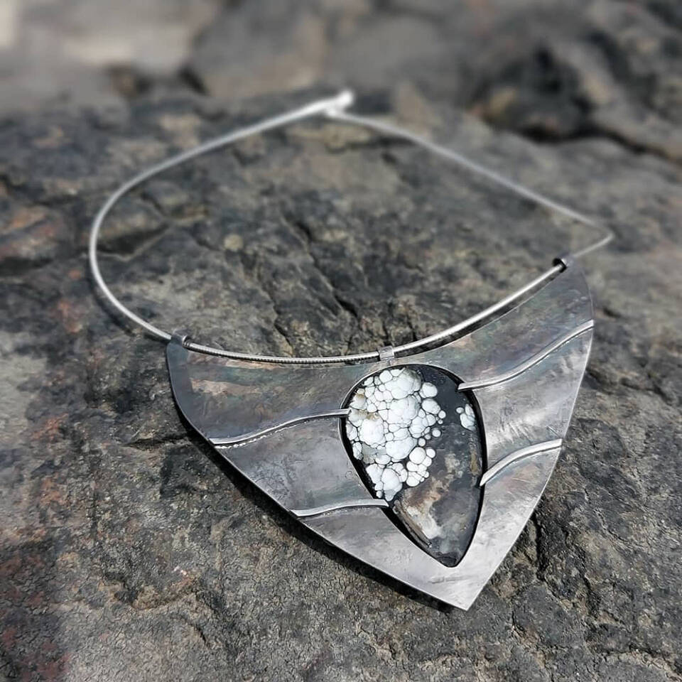 double sided drowsey necklace on the rocks