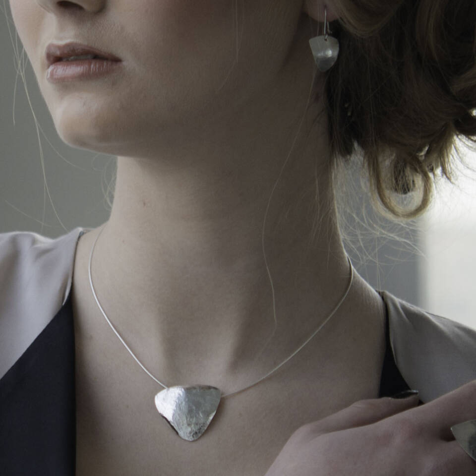 rollered triangle earrings and pendant modelled