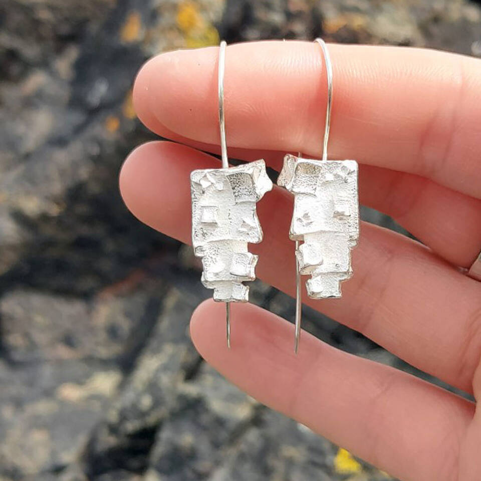 silver pyramid cube drop earrings