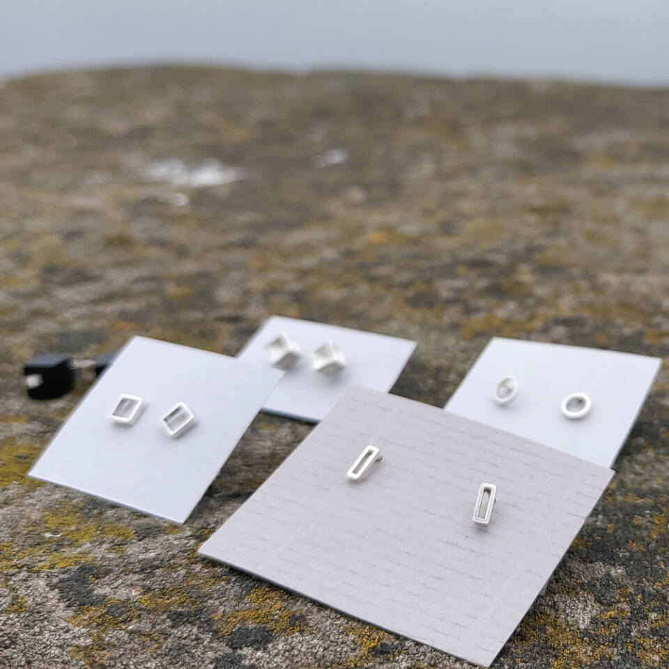 rectangle, square, cube round studs earrings